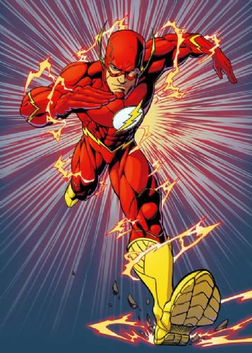 THE FLASH - RUNS AT YOU COLOUR canvas print - self adhesive poster - photo print
